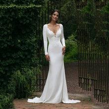 Свадебное платье в пол с v-образным вырезом и длинным рукавом, модель 2020 года, прозрачные белые свадебные платья с кружевной аппликацией(Китай)