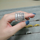 RINNTIN SR205 Hot Selling Women Jewelry Shiny Cubic Zirconia Eternity Band Diamond Rings 925 Sterling Silver Rings