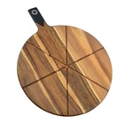 13.5 Inch New Design Round Wood Pizza Cutting Board With 6 Grooves Serving Tray For Home And Restaurant
