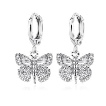 Vintage Retro Palace Design 2.5CM Insect Butterfly Drop Earrings Silver Plated Alloy Butterfly Dangle Earrings For Women
