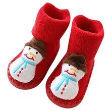 2020 рождественские носки для новорожденных, милые рождественские носки-тапочки с рисунком, нескользящие носки для маленьких мальчиков и дев...(China)