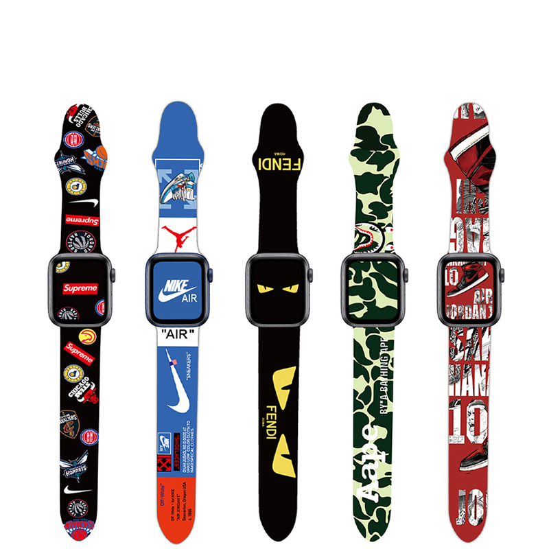 Custom Men Sport Character Silicone Rubber Print For Apple Watch Band For i Watch Series 6 Strap