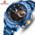 NAVIFORCE NF9163 Luxury Big Gold Watch Men Charm Stainless Steel Watch Straps Dual Display Quartz Digital Watches For Men