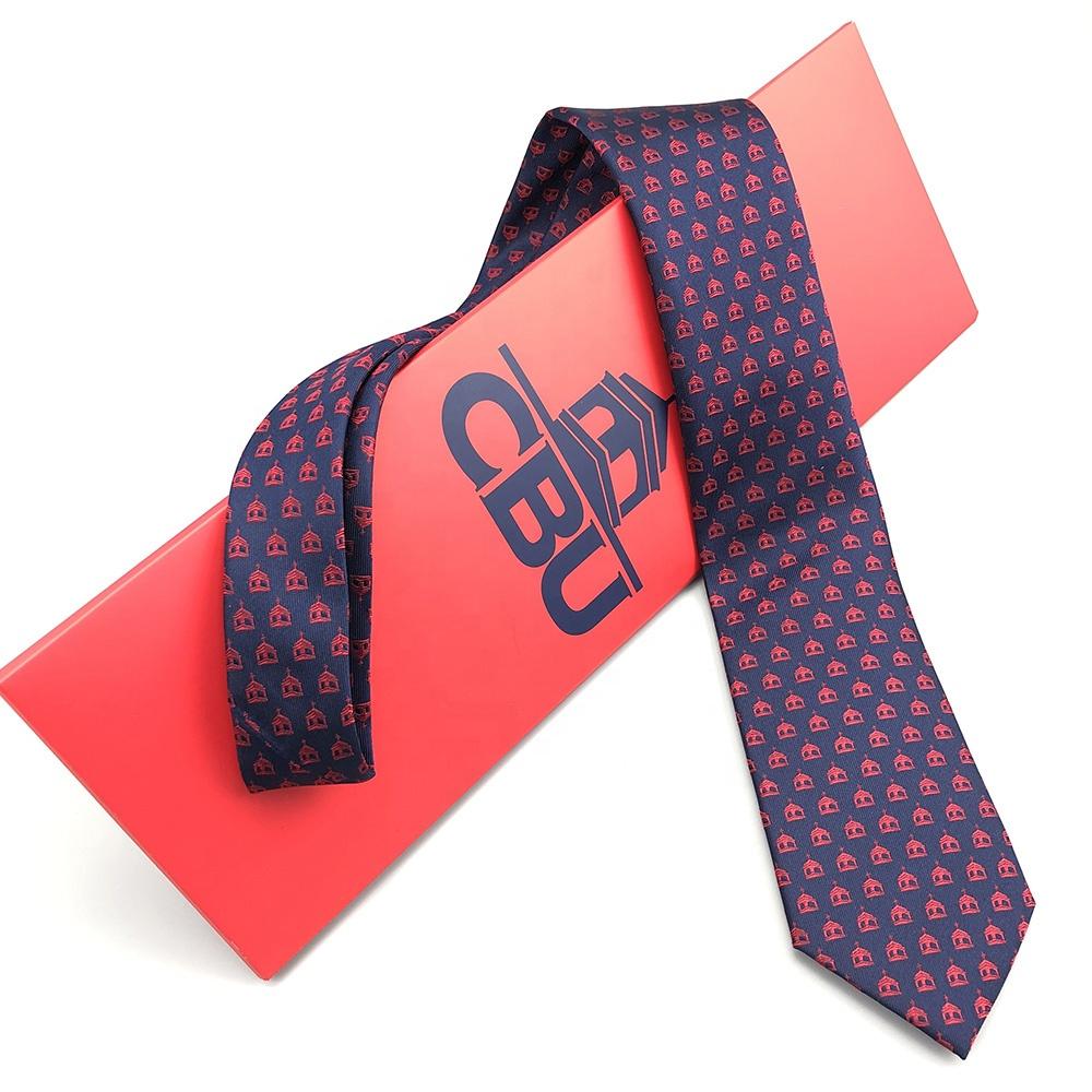 Мужской шейный галстук с принтом логотипа, красная подарочная коробка ручной работы, изготовленный на заказ черный роскошный галстук-конверт