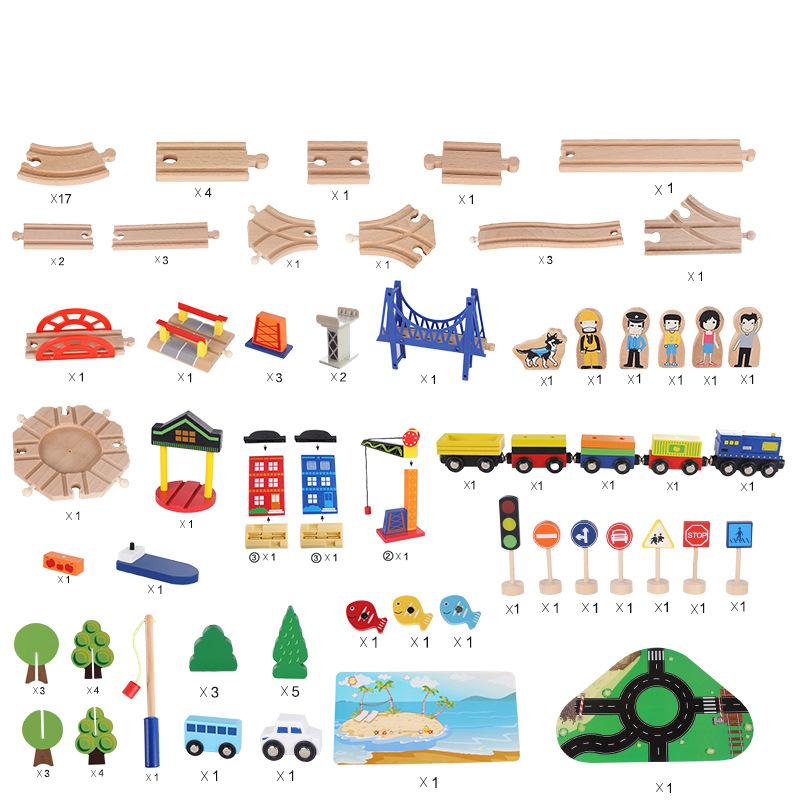 Оптовая продажа, детский деревянный автомобиль со слотами, поезд, гоночный игрушечный набор, трек, автомобиль, железная дорога, обучающие игры, игрушки