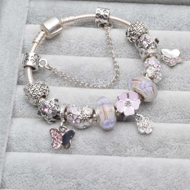 Летние высококачественные розовые хрустальные стеклянные бусины, очаровательный браслет, нежный горный хрусталь, цветок, браслет с подвесками бабочки
