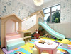 Daycare kids activity room playhouse with slide
