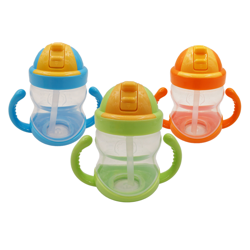 2020 New Baby Products Silicone Straw Handle Kids Drinking Bottle 280ml Baby Training Cup