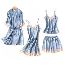4 шт./лот, женские пижамные комплекты, сексуальная ночная рубашка, атласная ночная рубашка, ночная рубашка без рукавов, стропы и шорты, домашн...(Китай)
