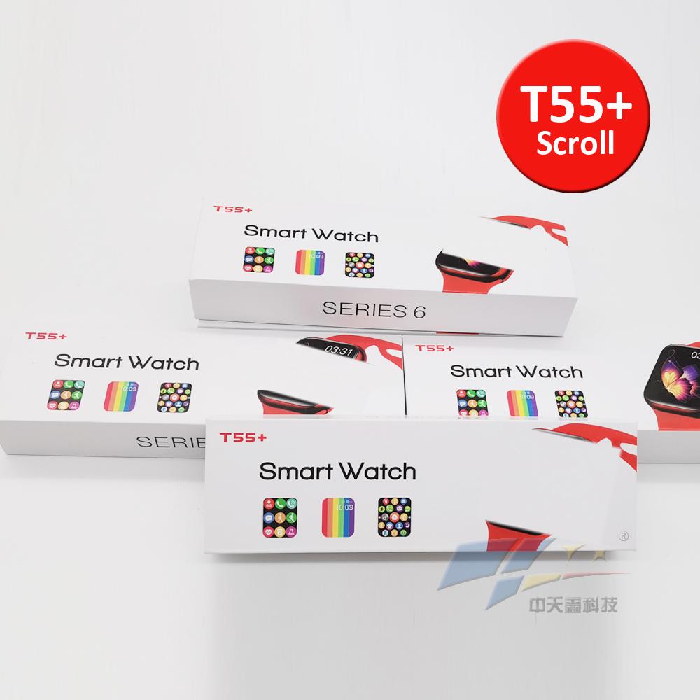 2021 new T55+ PLUS smart watch scroll konb series 6 call smart watch T55 plus