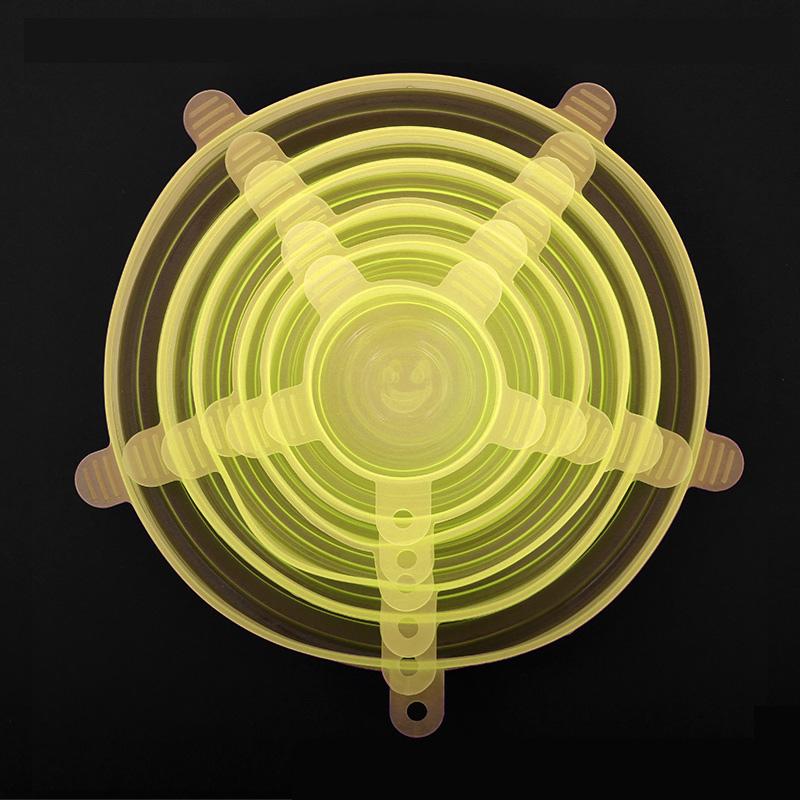6 шт./компл. силиконовый чехол для сохранения свежести многоразовая пищевая пленка эластичное растягивающееся уплотнение прозрачное покры...(Китай)