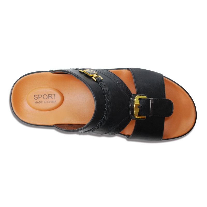 Wholesales of sandal chappals mens with Metal Buckle Leather Mens 2020 Chappals Leather Sleeper Shoes