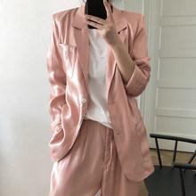 TWOTWINSTYLE розового цвета в Корейском стиле блейзер для женщин Зубчатый с длинным рукавом Повседневные Свободные пиджаки для женщин новая одеж...(Китай)