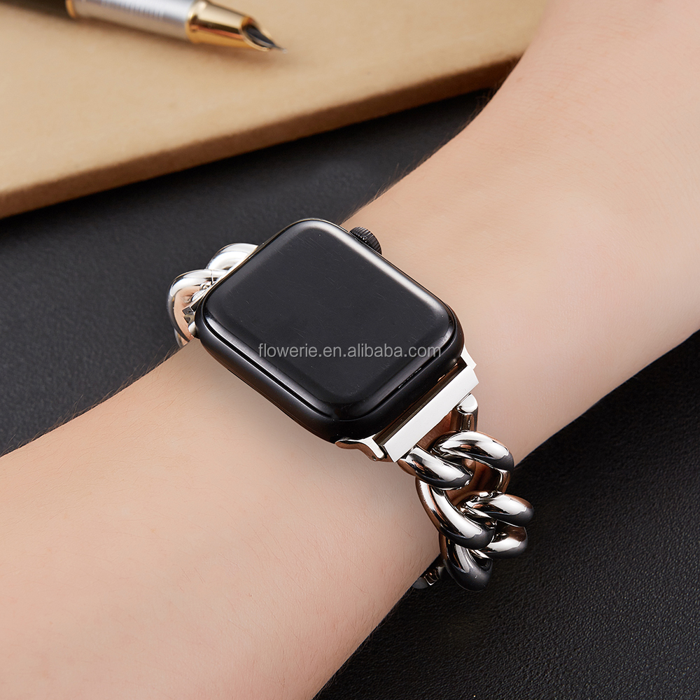 Metal581063 Luxury chain belt bracelet band glitter ladies fashionable replacement for Apple Watch Series 6 5 4 3 2 1