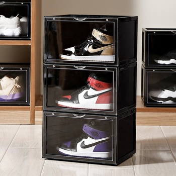 Plastic Shoe Storage Box Stackable Wholesale Storage Boxes Zapatillas Clear Sneaker Boxes Acrylic Drop Front Show Display