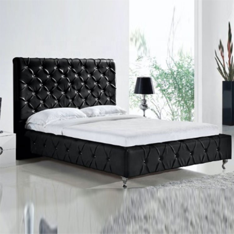 modern style furniture crystal black king size leather bed latest leather bed designs hot selling modern leather bed