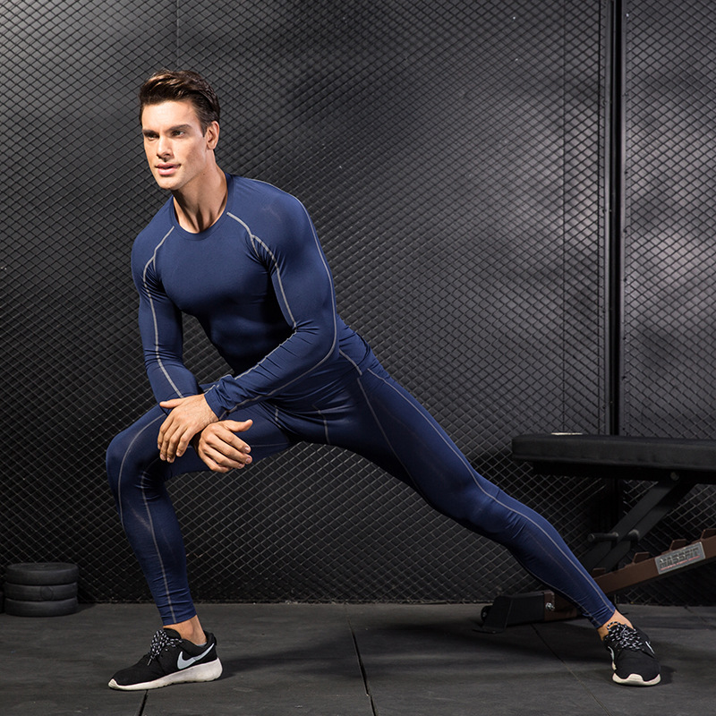Men T-Shirt Compression Long Sleeve Top and Pants Gym Fitness Sport Clothing
