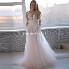 Свадебное платье с аппликацией и длинными рукавами, розовое платье длиной до пола с круглым вырезом и пуговицами на спине, 2020(China)