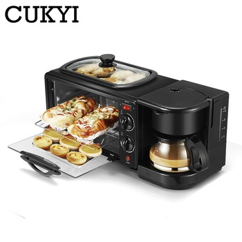 3 In 1 Electric Breakfast Machine Multifunction Coffee maker frying pan mini oven household bread pizza oven frying pan