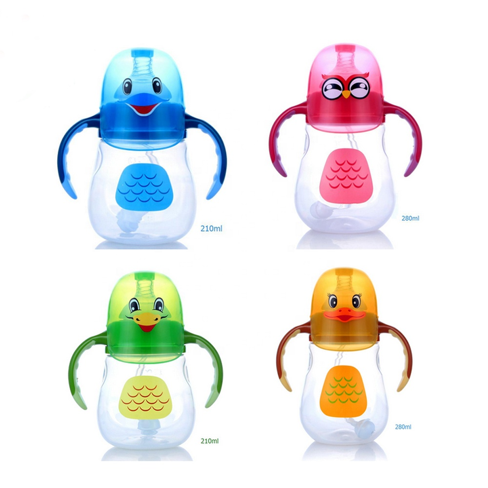 New Baby Feeding Products BPA Free 3 in 1 Lovely  Cartoon 210ml/280ml Baby Sippy Cup/Baby Training Bottle With Straw