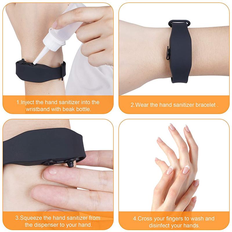 Многоразовый браслет с силиконовой бутылкой, браслет на запястье с жидкостью, Портативный Силиконовый браслет с диспенсером для рук, браслет с жидким мылом для рук