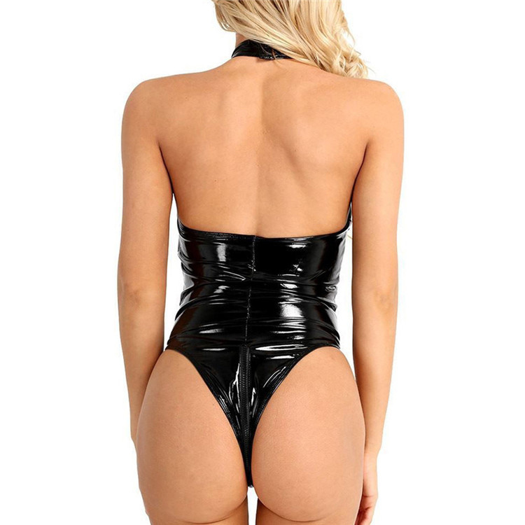 2021 Sexy Zentai Catsuit Patent Leather Lingerie Mesh Lingerie Sexy One-piece Cosplay Dancing Girl Costume