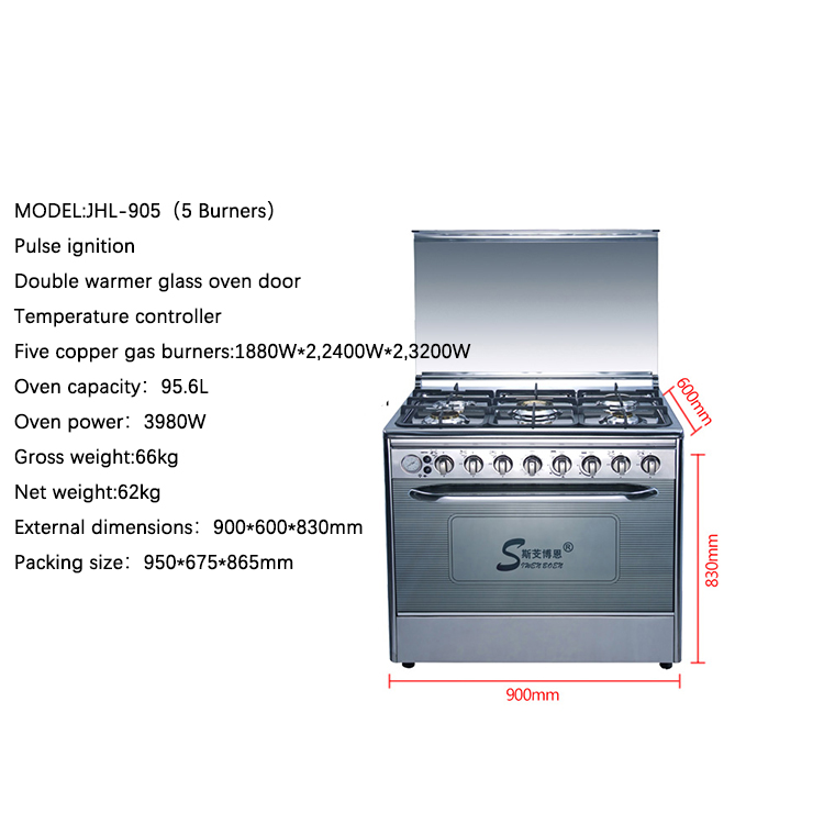 Kitchen stove and oven For home, gas range with oven 5 burners cocinas de gas con horno cuisiniere gaz avec four stove with oven