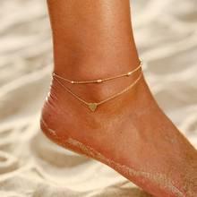 Модные Винтажные Многослойные ножные браслеты с сердечками и буквенным принтом для женщин, очаровательные серебряные, золотые цвета, цепоч...(Китай)