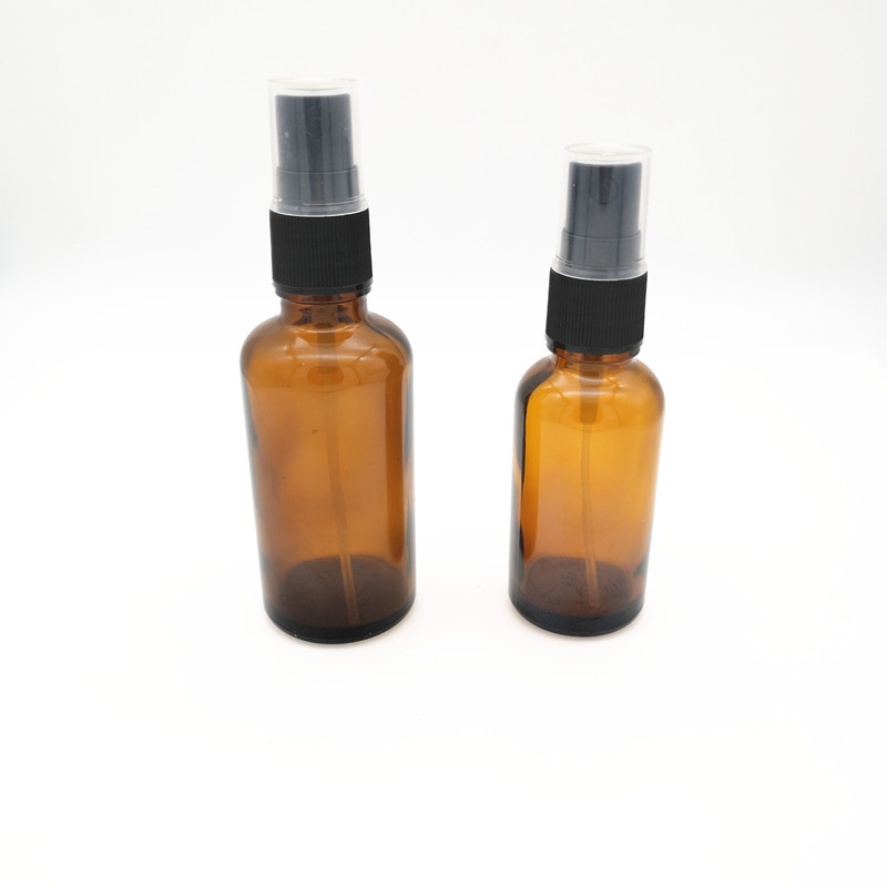 30ML Essential Oil Glass Bottle With Black Trigger Spray Top Amber Glass Spray Bottle