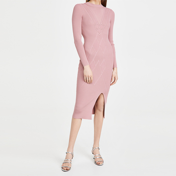 fashion Women pink Lightweight ribbed knit Crew neck long sleeves Knee-high front slit Diagonal design Unlined casual dress