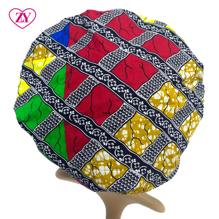 African Wax Print Fabric Hot Selling Women Ankara Hair Bonnet Satin Lined Custom With Wholesale Price