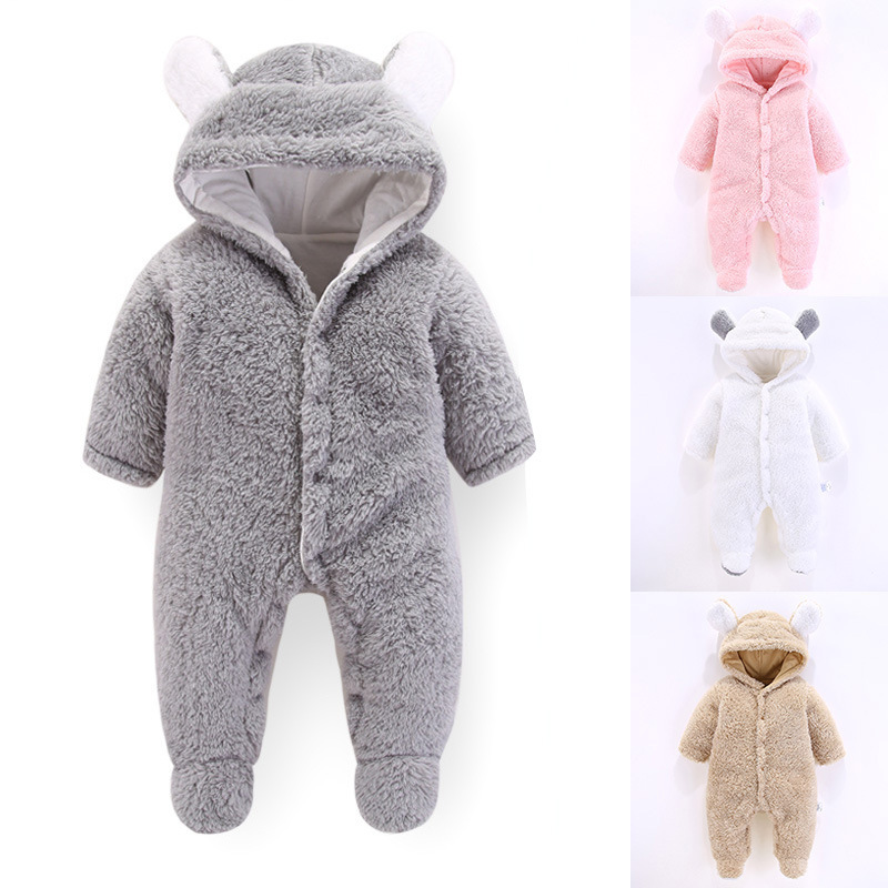 Newborn Rompers Winter Costume Baby Clothes Coral Fleece Warm Baby Girls Clothing Animal Overall Baby Rompers Jumpsuit