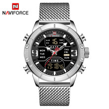 NAVIFORCE Топ спортивные Брендовые мужские часы, новые часы, модные мужские кварцевые светодиодные цифровые часы, мужские полностью стальные во...(Китай)