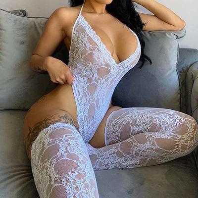 Wholesale Sexy Transparent Lace Mesh Up Bodysuit Lingerie Set Women Sexy Lingerie