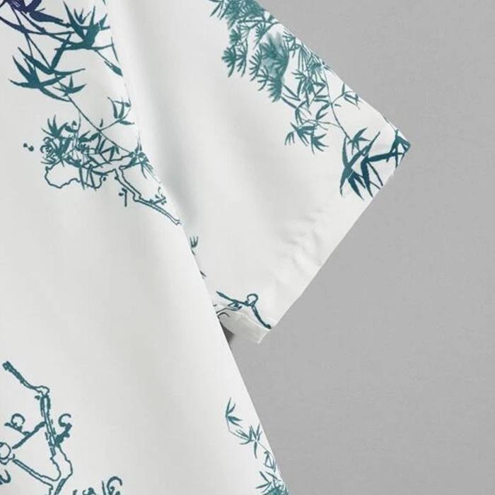 High quality new arrival vacation custom full printing hawaiian shirt short sleeve butterfly plants printed man's shirts
