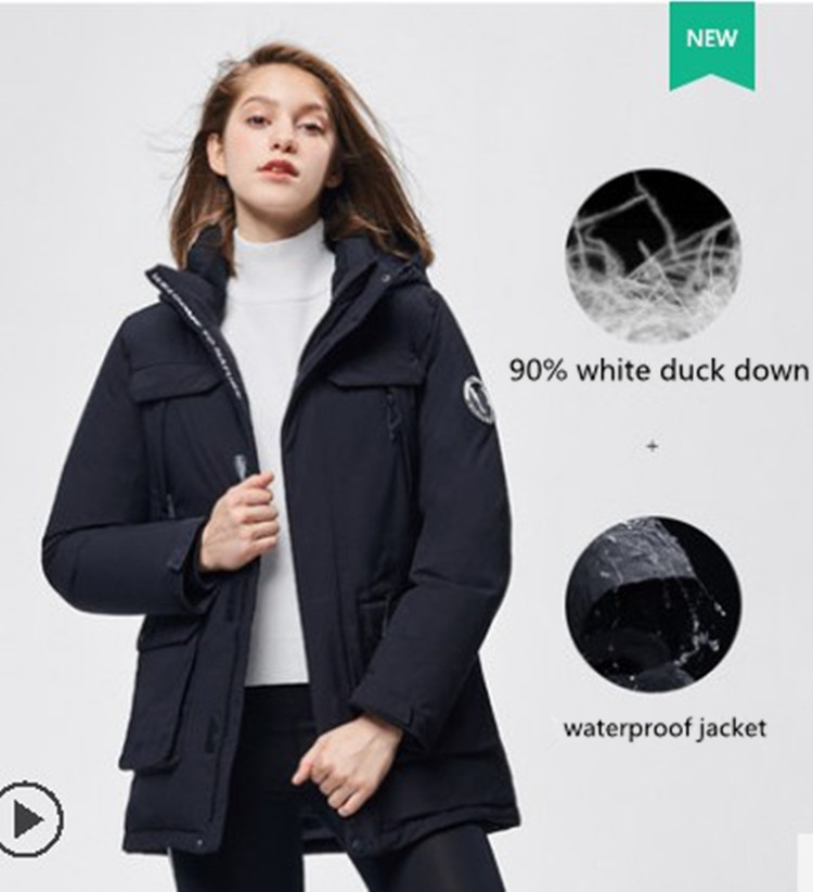ladies long hoodie parker winter women down jacket lined waterproof jacket