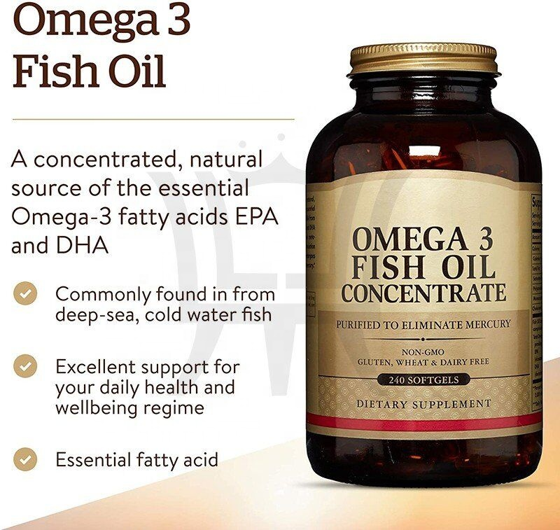 Omega 3 Fish Oil Concentrate 240 Softgels Support for Cardiovascular Joint & Brain Health Contains EPA & DHA Omega 3 Fatty Acids