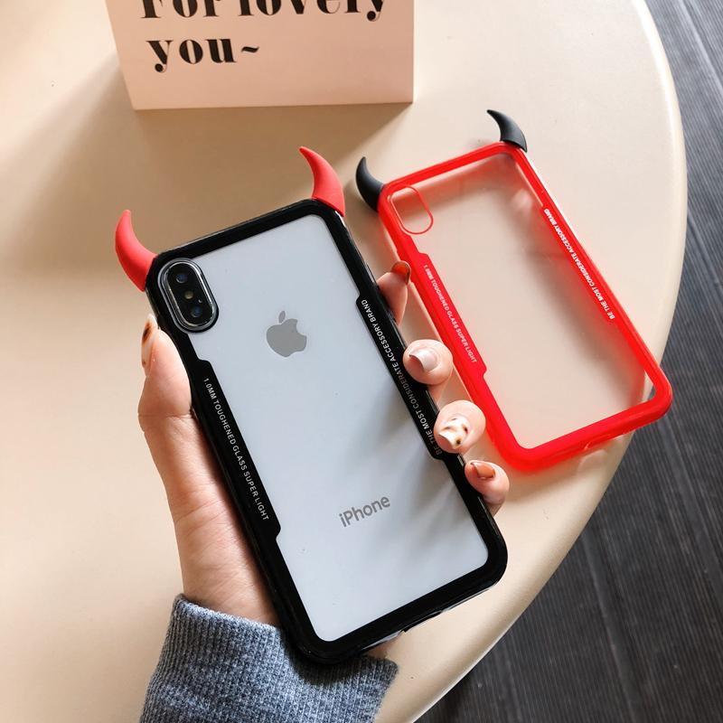 Coque De Téléphone Apple À Cornes Du Diable 3d,Étui De Luxe Souple Transparent Et Mignon Pour Iphone 6 S 5 7 8 Plus X Xr Xs Max - Buy De Luxe Mignon ...