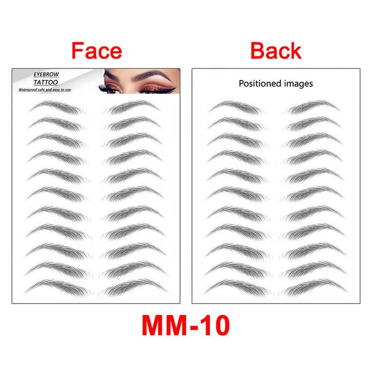 Amazon Crazy Selling Women Popular New Designs Waterproof Cosmetic Face Makeup Temporary Fake 6D/ 4D/ 3D Eyebrow Tattoo Stickers