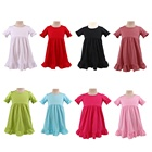 Stock RTS children frocks baby girls toddler party summer short sleeve cotton kids solid plain casual ruffle dress