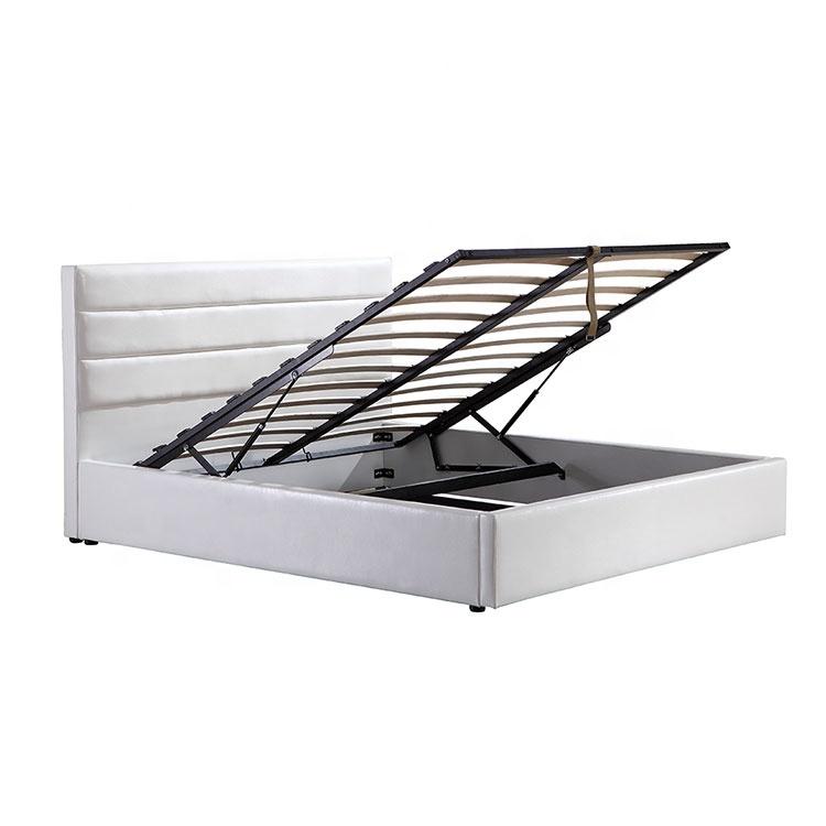 Elegant white pneumatic leather storage soft mattress bed furniture set