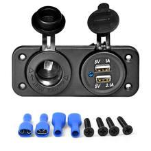 Разветвитель автомобильного прикуривателя с двумя USB разъемами, 12 В/24 В, черное зарядное устройство, адаптер питания, аксессуары для розетки(Китай)