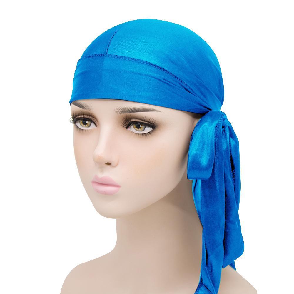 Men Silky Durags Bandanas Turban hat Wigs Satin Biker Headwear Headband