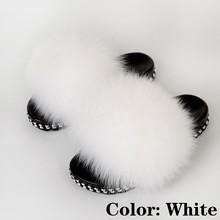 Меховые шлепанцы для женщин; Летние домашние шлепанцы с лисьим мехом; Роскошные модные женские домашние туфли с мехом; Новое поступление(Китай)