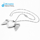 Necklace Sublimation Blank Metal Heart Shape Angel Wing Necklace Ornament