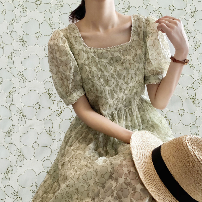 Ready Stock Factory Price Soft Double Crepe Gauze Printed Leaves Texture Cotton Seersucker Print Fabric For Summer Women Garment