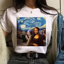 Женская Винтажная Футболка mona lisa, забавная футболка с мультяшным рисунком, 90s, Ullzang, в Корейском стиле(China)