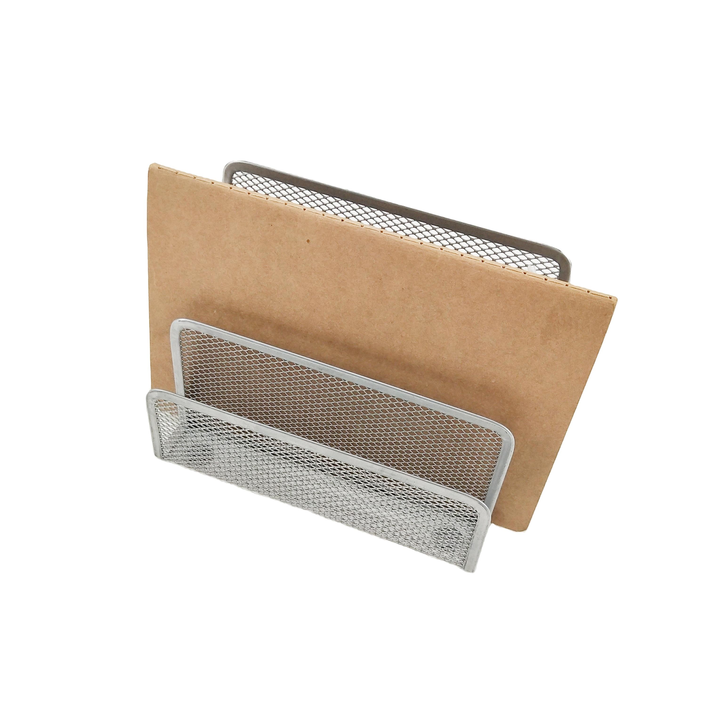 Grey Metal Mesh with 3 Slots Office Supply Organizer Desk Mail Letter Paper Letter Holder Storage Holder Mail Organizer