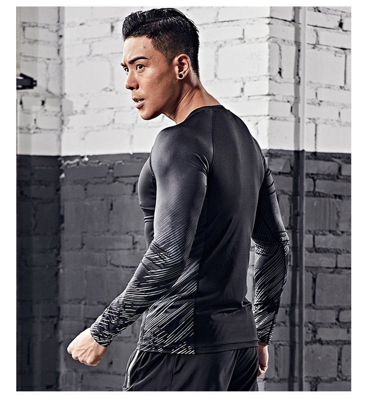 Factory wholesale low price sports long sleeve top casual sport fitness tight shirt for men