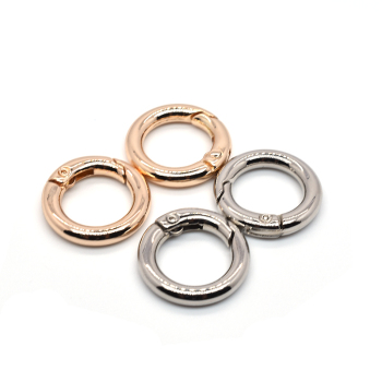 Hot sale high quality gold and sliver round shape 13mm zinc alloy snap hook key buckle metal spring ring for bag accessories